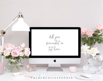 Styled Stock Photography | Desktop Mockup| Roses with Pink and White Desk Accessories | Styled Photography | Digital Image