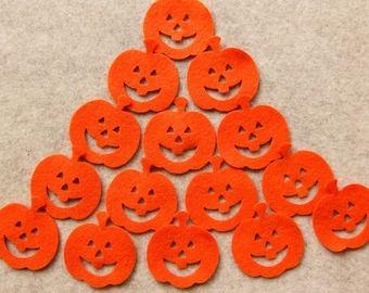 All Tangerine - Small Pumpkins - 24 Die Cut Felt Shapes (With Optional Backing Circle)