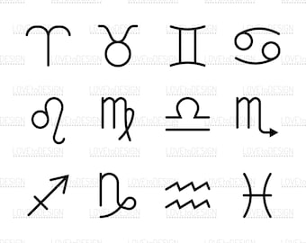 Signs of the Zodiac, Horoscope, Symbols, Svg, Png, Eps, Jpg, Cutting file, Digital file
