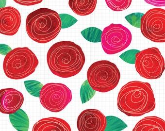 Watercolor Flower Clipart, Clip Art Flowers, Handmade Digital Clip Art, Commercial Use Instant Download
