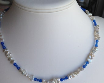 Necklace - Blue Agate, Freshwater Pearls