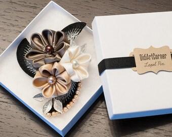Shades of Cream Flowers Women Brooch