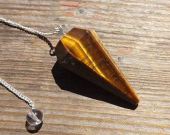 TIGER EYE Natural Stone Gemstone Faceted Pendulum