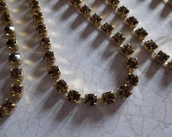 3mm Smoke Topaz Rhinestone Chain - Brass Setting - Brown Preciosa Czech Crystals