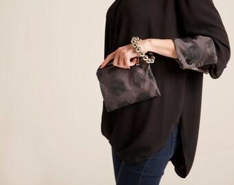 gray wristlet Clutch, fabric clutch purse pattern Polka Dots handbag