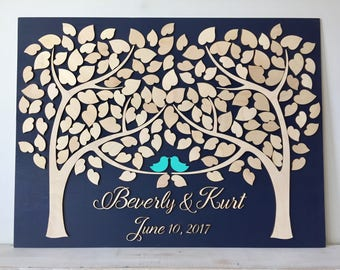 Wedding Guest Book Alternative 3D Guestbook Wood Tree of Hearts Two Trees Grow Into One Navy Blue Wedding Decor Rustic Guest Book