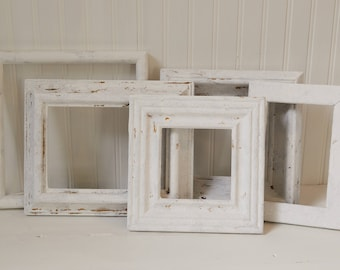 Frame set / White wood distressed frames / Shabby Cottage Frames / French farmhouse / UpstairsAtAliceAnns