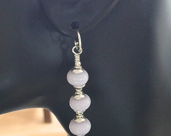 Lamp Work Grey Glass Earrings  and Sterling Silver