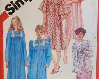 Womens, Misses, Nightgown, Robe, Vintage, Sewing Pattern, Medium, Size 14, Simplicity, Pattern 5330, Two Lengths, Bed Jacket, 22pcs