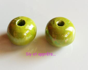 5 olive green color 15 mm ceramic beads