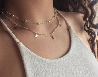Silver/Gold/Rhodium Two-Layer Beaded Star and Moon Choker/Necklace