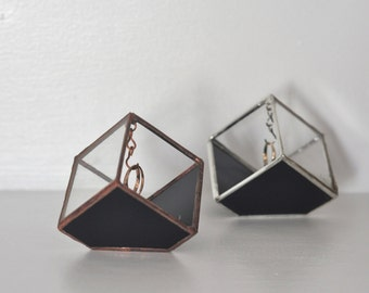 Magus Stained Glass Ring Holder - Black Glass Display Box - silver or copper - eco friendly - etching