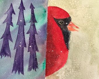 Winter Red Cardinal Painting, Original Watercolor Painting, Nature Art, Office Wall Art, Bedroom Decor, Child Room, Nursery Decor