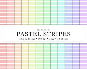 """Digital Paper """"Pastel Stripes"""" • Instant Download • Scrapbooking Supply • High Quality • Commercial Use"""