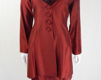 Vintage 1960s Rust Dress and Matching Jacket Set UK Size 12