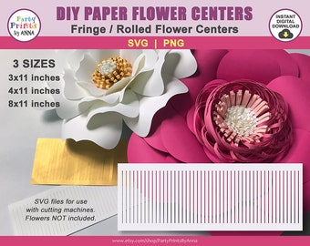 SVG Paper Flower Centers - Rolled fringe paper flower center SVG for use with cutting machines,cricut,silhouette, fluffy loopy flower center