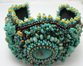 Bead Embroidered Turquoise Howlite cuff