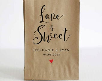 Wedding Favor Bags, Candy Buffet Bag, Love is Sweet Treat Bag, Wedding Treat Bag, Personalized Wedding Favor, Wedding Favor Tags, Party Bags