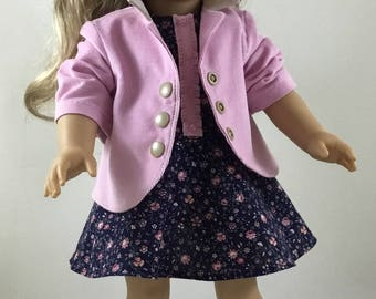 Light Pink Corduroy Jacket and Navy Blue Floral Dress made to fit 18 inch dolls