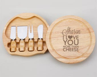 I Love You More Than Cheese Personalized Gourmet 5pc. Cheese Board Set - JM4989968-P