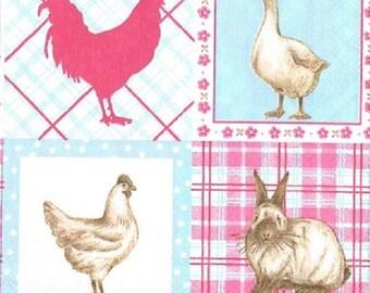 farm animals paper napkin-196 25 x 25 cm