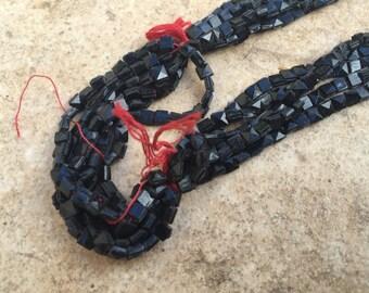 Bohemian Vintage Czech nailhead beads Jet black  square tile  sew ons mini buttons trim