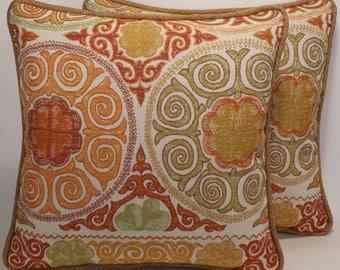 "2 Tan Throw Pillows,Suzani Throw Pillows,Decorative Pillows, 2 18"" Orange Green Tan Suzani Designer Throw Pillows & Forms,Home Decor,227"