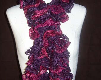 maroon and purple ruffle scarf