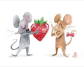 "I Love You Berry Much! - fine art print 5""x7"""
