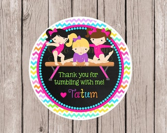Gymnastics Birthday Party Favor Tags or Stickers / Pink, Purple and Rainbow on Chalkboard Background / Choose Skin Color / Set of 12