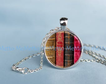 Library Pendant|Bookshelf Books Art Necklace Teacher Geekery Jewelry Gift for Writer Librarian Anniversary Gift|Gift for HER Bridesmaid