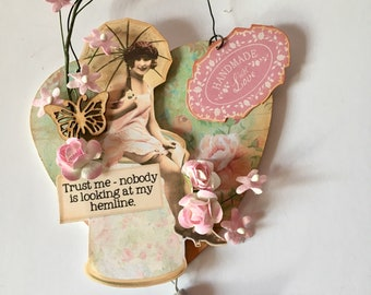 Handmade vintage style collage gift for mum