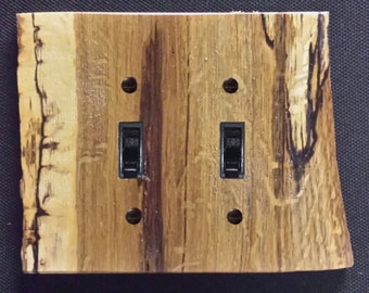 Rustic Oak Log Switch Plate Covers Without Bark (Single, Double, Triple. Also 2, 4, 6 Outlets)