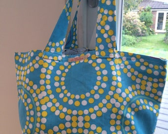 Retro dot blue with yellow and white polka dots - Ikea fabric market tote/beach bag