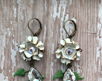 Summer Blooms, vintage redesigned earrings, rhinestone, white enamel, OOAK, shabby, feminine, repurposed, floral, upcycled, vintagefrivolity