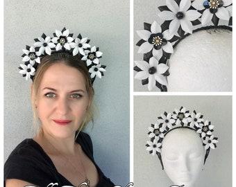 Ladies black & white leather headband fascinator