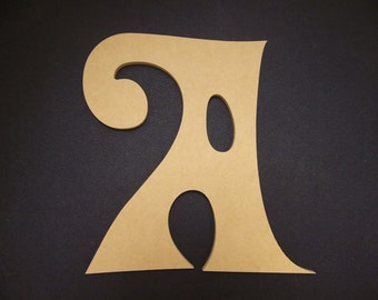 """16"""" Unfinished Wooden Letters, Delta Hey font, 1/2"""" thick w/Key Hole, Ready to Paint, Made in USA 16DH50-2      -4"""
