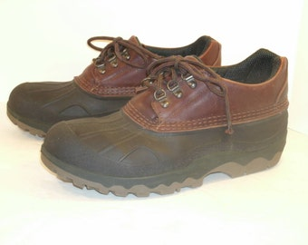 LL Bean Dark Brown Leather Waterproof Storm Chasers Green Rubber Shoes Short Ankle Shoe Boots Lace Up Walking Hiking Working Men's US Size 9
