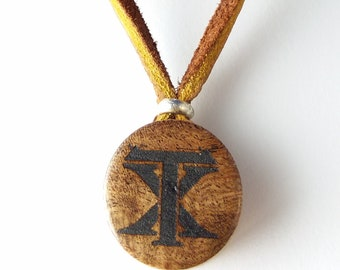 Texas Necklace   Burled Mesquite Wood Pendant Sterling Silver Leather