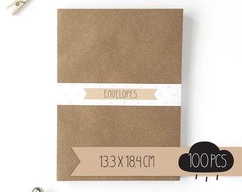 Envelope / kraft brown / 13,3 x 18,4 cm / 100 pieces