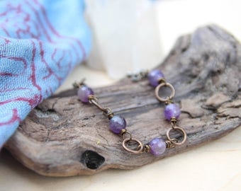 five deep breaths . peace amethyst bracelet