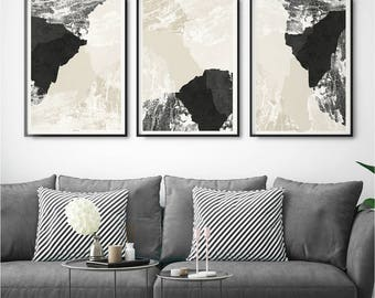 Set of 3 Abstract Wall Art Prints - Minimalist Prints - Living Room Wall Art- Fine Art Print - Large Wall Art - Triptych - Modern Room Decor
