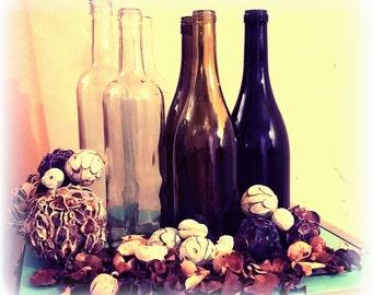 Set of 6 Clean Empty Wine Bottles (Assorted Colors)