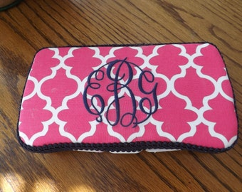 A decorated travel wipes case / Monogramed Baby/ Baby shower item /Diaper bag / personalized gifts /