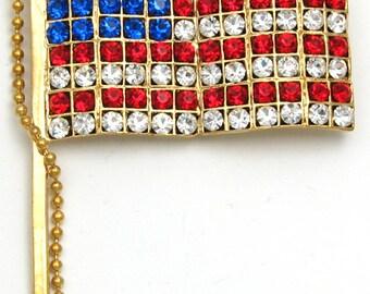 Rhinestone American Flag Pin & Bead Cord Gold Tone NOS