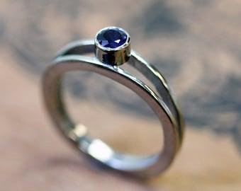 Sapphire engagement ring, recycled 14k palladium white gold, modern ring, alternative engagement ring, saphire ring, Wishes ring, custom