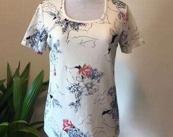 Vintage Randon Short Sleeve Floral Top
