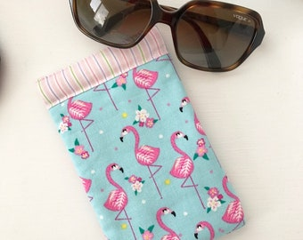 Sunglasses Pouch - Glasses Case - Padded - Snap Shut - Flamingoes!