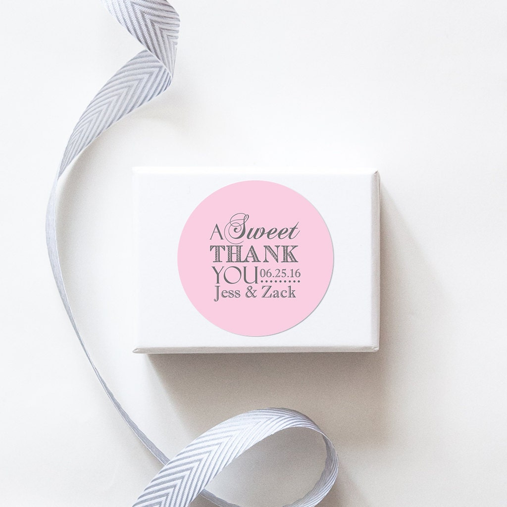 A Sweet Thank You Wedding Favor Stickers Custom Labels //