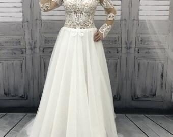 Wedding dress, lace wedding dress, unique wedding dress, open back bridal gown